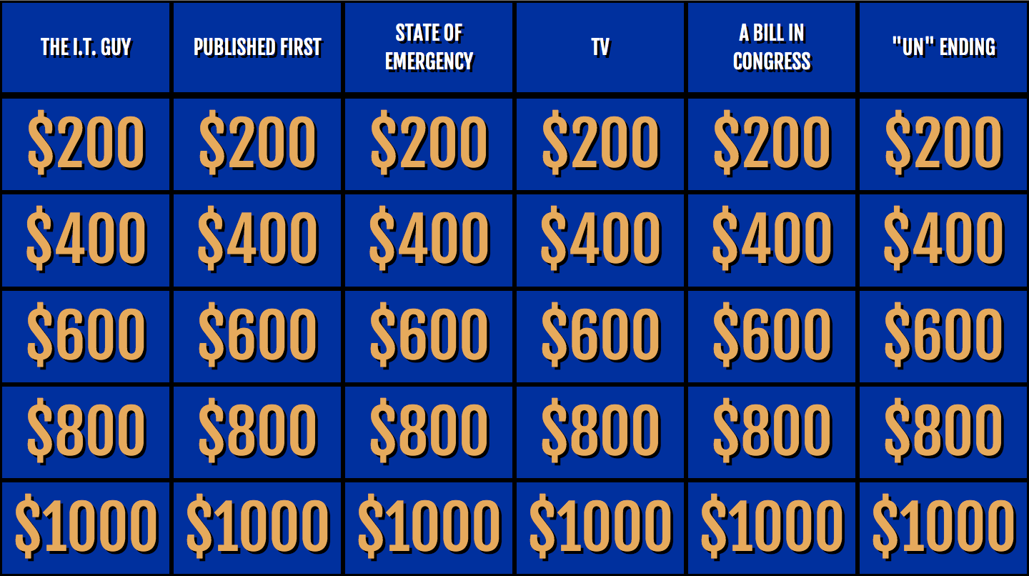 things with buzzers: The Jeopardy! game board.